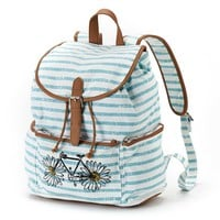 Candie's Striped Floral Bike Backpack (White/ Blue)