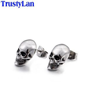TrustyLan Punk Rock Skull Mens Earrings For Stainless Steel Small Stud Earings Fashion Jewelry 2017 Dropshipping Gift New