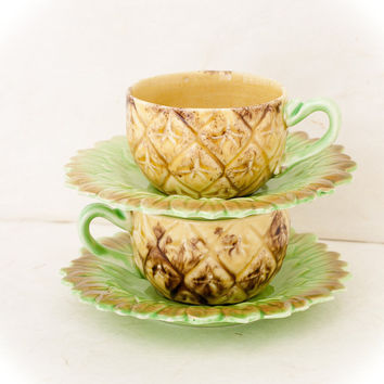 Vintage Pineapple Tea Cups, Ceramic Made in Japan, Set of Two
