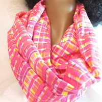 Handmade cotton scarf - Pink and yellow plaid Infinity Circle Scarf