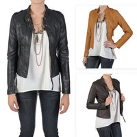 Journee Collection Junior's Quilted Faux Leather Bomber Jacket   Overstock.com