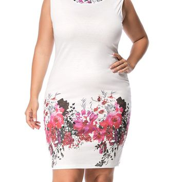 Streetstyle  Casual Fancy Round Neck Floral Printed Plus Size Bodycon Dress