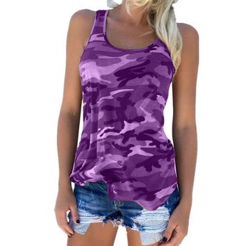 Purple Women's Camouflage Tank Top