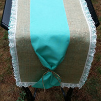 "Burlap and Lace Table Runner with Linen, Rustic Table Decor, Rustic Wedding Decor, 72"" Runner, Burlap Runner"