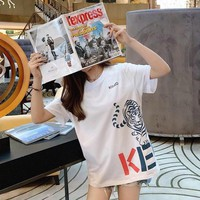 """""""Kenzo"""" Women Casual Personality Tiger Head Letter Print Short Sleeve T-shirt Top Tee"""