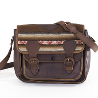 Leather Saddle Bag Kilim Satchel Structured Crossbody Purse Wool Tapestry Carryall