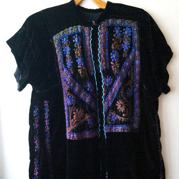 Hand embroidery Palestine blouse silk velvet Vintage Arab Textil Black backgrounde Traditional blouse Blue beads M - L  Rare Free Shipping