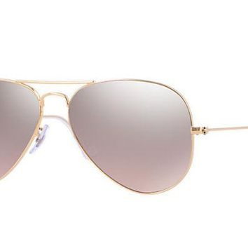 LMF8UH Ray Ban Aviator Sunglass Gold Brown Pink Silver Mirrored RB 3025 001/3E