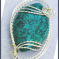 Tibet Turquoise Pendant Sterling Silver Wire Wrapped Handmade Jewelry