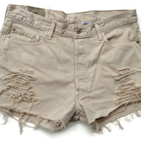 Khaki Levi High Waisted Denim Shorts Tan Jean Shorts Size 14/15
