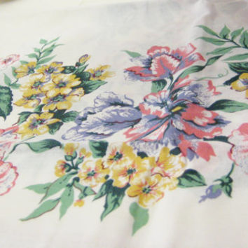 Vintage Table Cloth, Floral Square Fine Table Linens, New Vintage Bardwil Linens