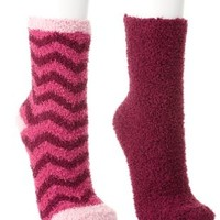 Striped & Solid Fuzzy Socks - 2 Pack by Charlotte Russe - Pink Combo