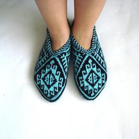 womens slippers, ethnic knit slippers, authentic, mint green and black Traditional Turkish Slippers Christmas gifts for women