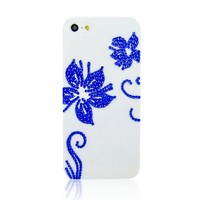 Blue Flower Rhinestone Handmade Case For iPhone 4/4s