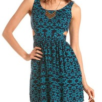 Cutout Side Printed Challis Dress: Charlotte Russe