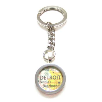 Detroit Michigan Map Pendant Keychain