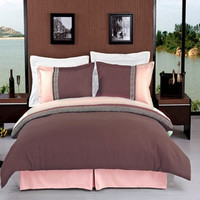 Astrid Taupe & Beige Embroidered Luxury Bedding 3-Piece Duvet Cover Set