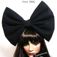 XXXL Flannel Hair Bow (Headband) big cosplay or costume hairbow in Red, Black, White, Pink, Purple or Yellow
