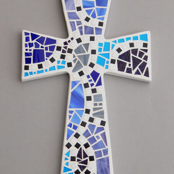 "Mosaic Wall Cross, Large, White with Shades of Blue + Purple Glass, Handmade Stained Glass Mosaic Cross Wall Decor, 15"" x 10"""