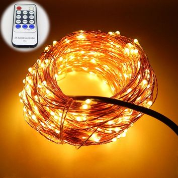 99Ft 30m 300 Leds Copper Wire Warm White LED String Lights Starry Lights Fairy lights+12V Power Adapter+Remote Control