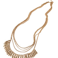 FOREVER 21 Layered Chain Teardrop Necklace Gold One