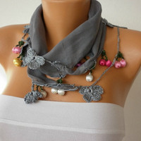 Gray  Scarf Cotton Scarf Headband Woman Necklace Cowl by fatwoman-h01
