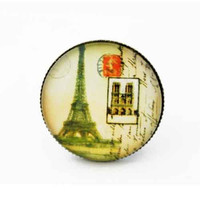 10% SALE - Tower Ring in Green Yellow Background in Large Big Size