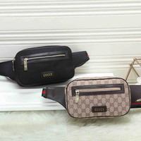 *Gucci* Fashion Women Leather Shoulder Bag Single Bag Waist Bag