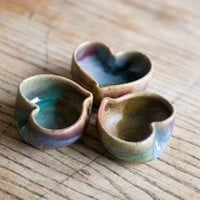 Heart bowls set of three tiny heart bowls by redhotpottery on Etsy