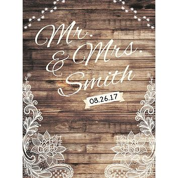 Custom Wedding Rustic Wood Backdrop (ANY TEXT) Engagement, Birthday, Baby Shower - C0202