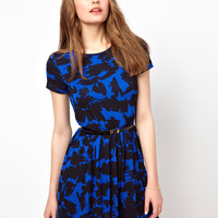 A Wear | A Wear Blue Print Skater Dress at ASOS