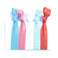 5 Soft Stretchy Fabric Hair Ties - No Headache PonyTail Holders - Coral and Turquoise Knotted Hair Ties - Beach Inspired Hair Accessories