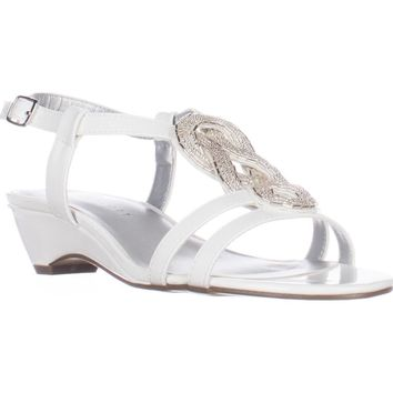 KS35 Clemm Low-Heel Dress Sandals, White, 11 US