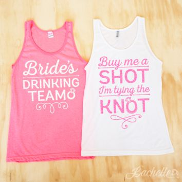Bachelorette Party Glitter Tank Tops - Buy Me a Shot I'm Tying the Knot | Pink