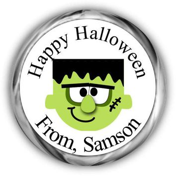 Frankenstein Halloween Candy Kisses Stickers