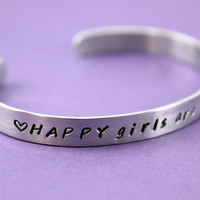 Handstamped Cuff Bracelet - HAPPY girls are the PRETTIEST