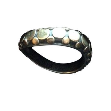 Pre-owned John Hardy Silver & Gold Dot Ring - Size 7
