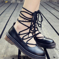 Black Lace Up Chunky Sole PU Shoes