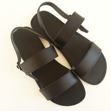 Women Open Toe Leather Sandals - Black Leather Summer Sandals