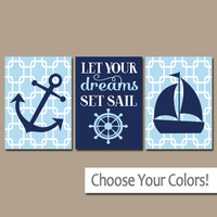 BOY Nautical Wall Art, CANVAS or Prints Anchor Boat Decor, Nautical Nursery, Baby Boy Nursery Wall Art, Let Your Dreams Set Sail Set of 3
