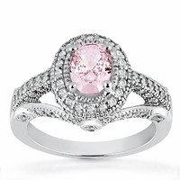 3.11 carats Oval pink halo diamond white gold 14K anniversary ring new