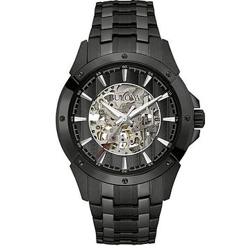 Bulova Mens Automatic Black Dress Watch - Skeleton Dial - Bracelet