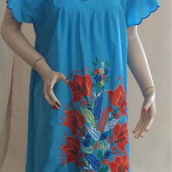 Vintage ethnic boho hippie Blue  embroidery DRESS maxi bohemian dashiki gypsy cotton caftan midi Costa Rico