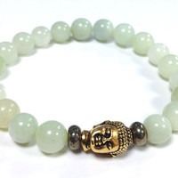 Sea Green new Jade Serpentine Jade and Pyrite gemstones Bracelet  with Gold Buddha Bead