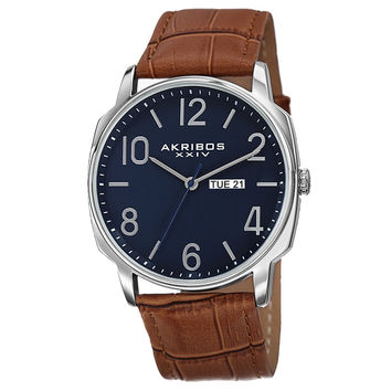 Akribos XXIV Men's Japanese Quartz Day/Date Display Leather Strap Watch | Overstock.com Shopping - The Best Deals on Akribos XXIV Men's Watches
