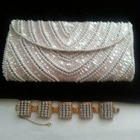 Vintage Classy White Beaded Clutch Purse Made in Japan 1950s 1960s Mad Men Mod Mid Century Hollywood Regency Bag