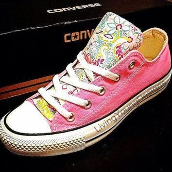 CREYUG7 Custom Converse Low Top Sneakers Floral Chuck Taylors