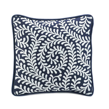 Accent Pillow-Navy Blue Spiraling Vines