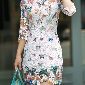 Butterfly Pattern Lace Dress