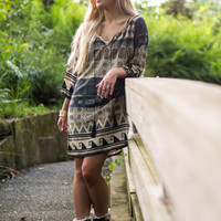 Native Travels Dress, Taupe/Blue